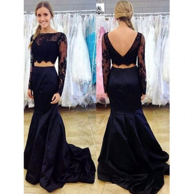 62adc7d5f2d Crop Top Two Piece Mermaid Prom Dresses Lace Bodice Illusion Long Sleeve  Taffeta Sexy New Trend 2017 Factory Custom Made