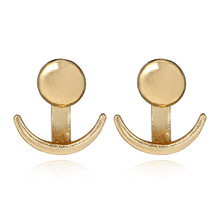 2018 Hot Trendy Crescent Moon Phase Earrings Cute Ear Jackets Geometric Round Stud Earrings for Women Sun Moon Set Earing Gifts(China)