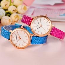 Luxo Moda Pulseira de Couro Quartz Analógico Rodada Relógio de Pulso Relógios Representante do mundo fashion Business watch & 2