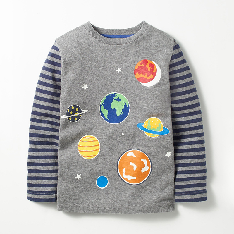 Little Maven New Autumn Spring Children Grey Fluorescence Galaxy Full- sleeved O-neck Quality Cotton Knitted Boys Casual Tshirt цены