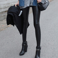 2018 Winter Autumn Spring High Waist Fitness Pu Leggings Wearing With Boots Female Faux Leather Skinny