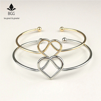 BGG Simple Wire Tie The Knot Bracelet Bangle Lovely Knot Cuff Open Metal Bangles For Women Gift Jewelry bangle