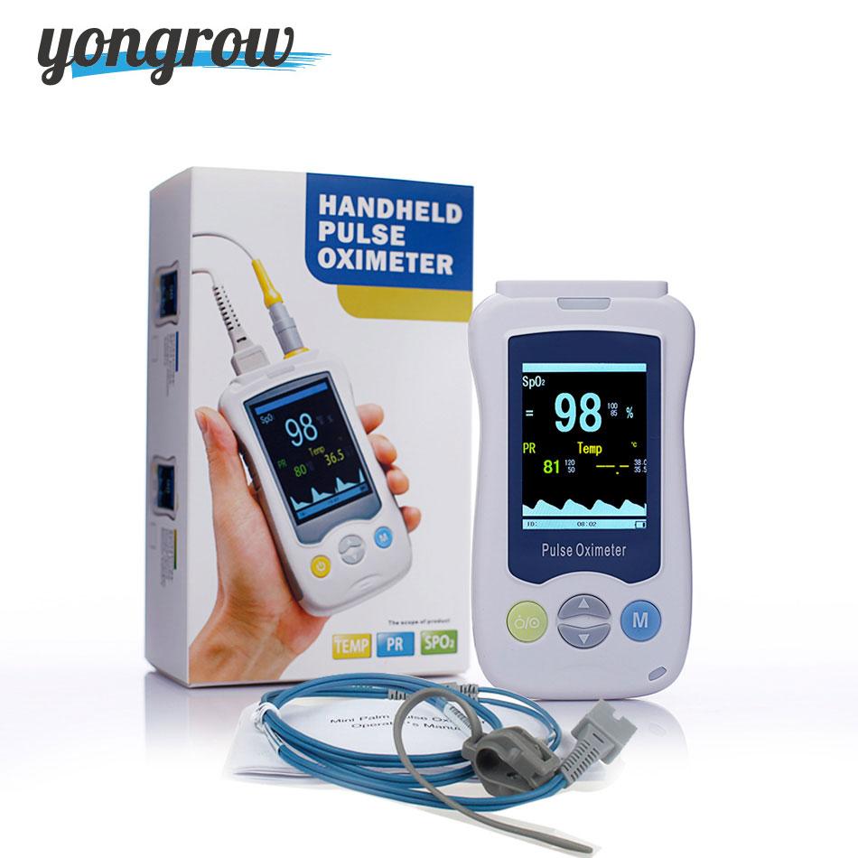 Yongrow Médica Filhos Adultos Recém-nascidos Handheld Pediátrica Oxímetro de pulso Monitor de Oxigênio No Sangue PR SPO2 cuidados de saúde em tempo real