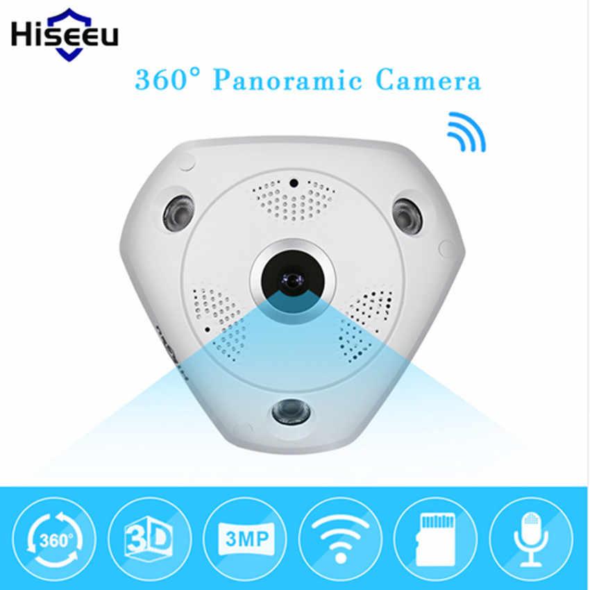 Hiseeu HD 3.0MP WiFi กล้อง Panoramic 360 องศา e - PTZ IP Fisheye กล้องวงจรปิดวิดีโอเก็บ Remote IR-CUT Onvif เสียง 39