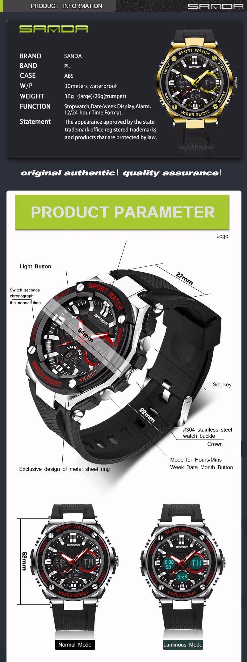 Men Sport Watch Waterproof Top Brand Luxury Military Watch LED Digital Quartz Wristwatch Relogio Masculino Reloj Hombre 2019 733 17