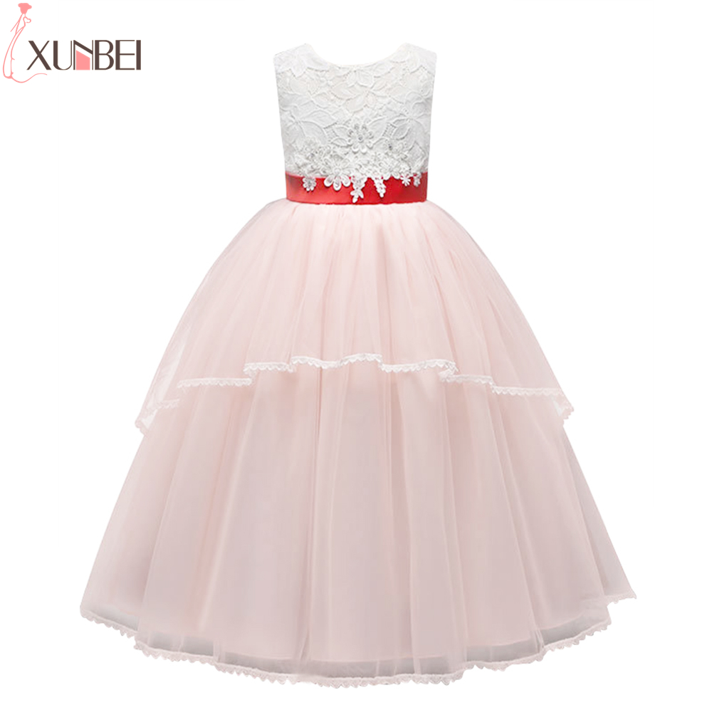 New Arrival Lovely Pink Ball Gown Lace Flower Girl Dresses 2019 Soft Tulle Holy Communion Dresses For Girls Pageant Dress