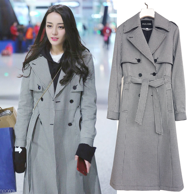women good quality Windbreaker   trench   female autumn winter new Korean version Double Breasted   Trench   Coat Business Outerwear