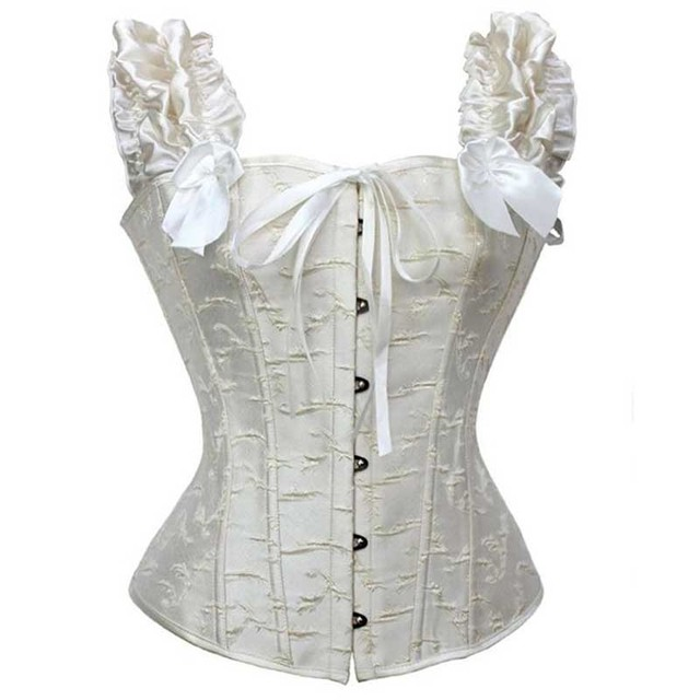 97131b4866 Bows Short Ruffles Sleeve Lace Up White Bridal Corsets And Bustiers Sexy  Wedding Corset Victorian Gothic Clothing Women Corsage