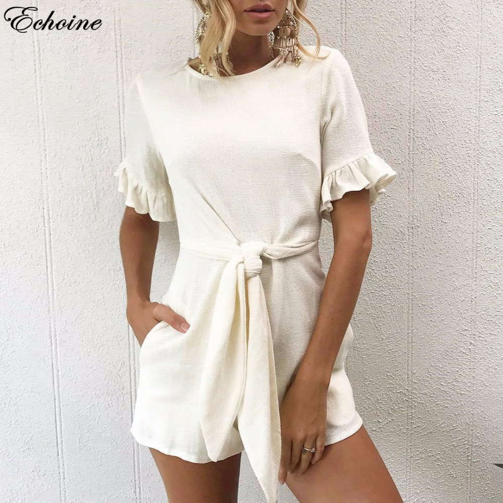 Echoine 2018 Casual Ruffles Summer Women Playsuit Short Sleeve Bodycon Solid Jumpsuit Lace Up Pockets Bodysuit Rompers Femme