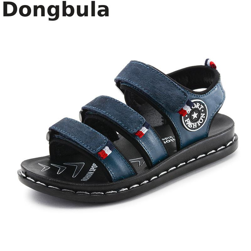 2019 Summer Kids Beach Shoes Genuine Leather Boys Sandals Fashion Non-slip With Arch Support Flat Orthopedic Children's Shoes