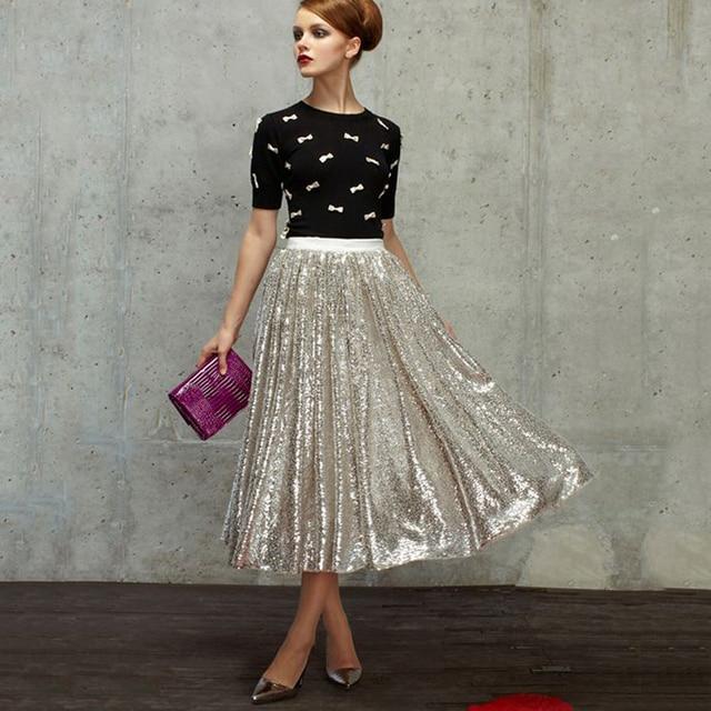 nueva moda lentejuelas falda de té de longitud por debajo de la