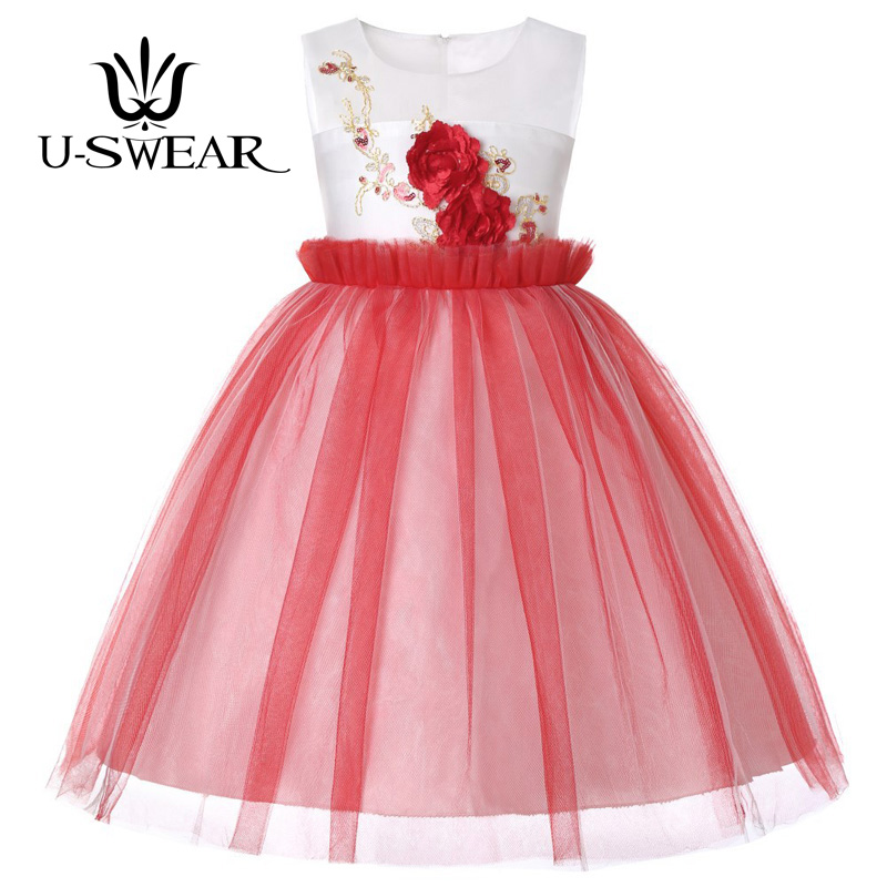 U-SWEAR 2019 New Arrival 5 Colors Little   Girls   Pageant Gresses   Flower   Appliqued Flora Embroidery   Flower     Girl     Dresses