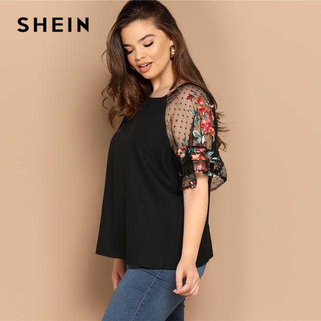 SHEIN Plus Size Black Flower Embroidery Mesh Sleeve Top Blouse Women Summer Elegant Short Sleeve Sheer Solid Round Neck Blouses 1