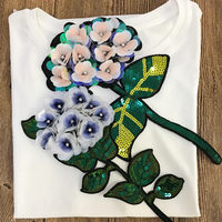 1Pc Embroidered  Patches Iron on Big Sequins Flower Patch DIY  Sewing on Appliques for Clothing  New High Quality,YN525