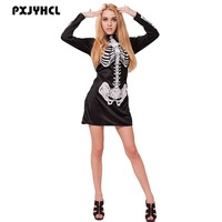 Halloween Carnival Skull Costumes For Women Sexy Skeleton Mini Short Dress Adult Fantasia Ghost Cosplay Black Dresses