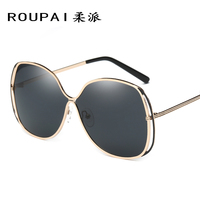 ROUPAI 2017 new women polarized sunglasses tide people bright color sunglasses retro metal sunglasses P0827