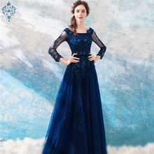 Ameision Full Sleeve Luxury Evening Dresses Flower Embroidery Tulle Floor Length Sexy BacklessPearls Formal Dress