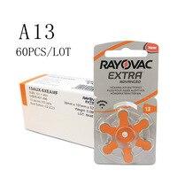 60 шт. RAYOVAC очень цинк батареи воздуха слухового аппарата A13 13A 13 P13 PR48 Аккумулятор для слухового аппарата A13