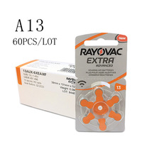 60 шт. RAYOVAC EXTRA воздушно-цинковые батарейки для слуховых аппаратов A13 13A 13 P13 PR48 Аккумулятор для слухового аппарата A13