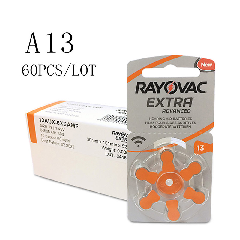 60 PCS Rayovac Extra Zinc Air Hearing Aid Batteries A13 13A 13 P13 PR48 Hearing Aid Battery A13 For Hearing Aids