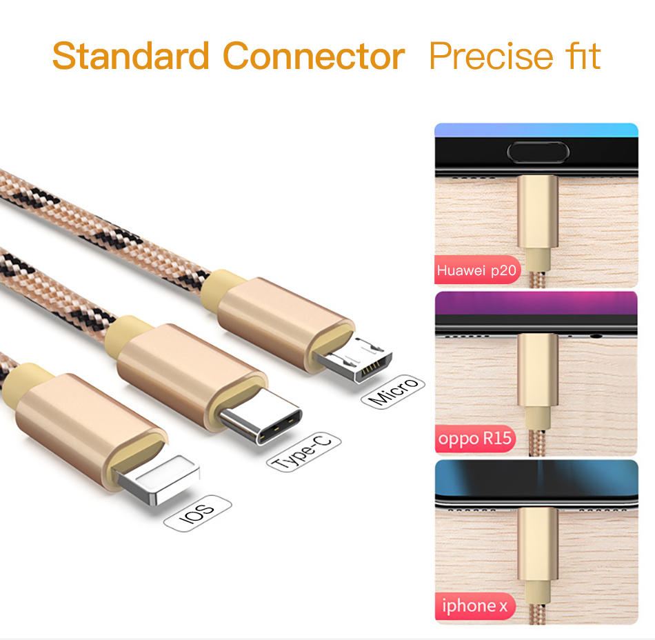 !ACCEZZ 3 in 1 USB Cable 2A Charging Line Micro USB Type C Lighting For iPhone XR XS MAX Charger Phone Cable For Samsung S9 S8  (7)