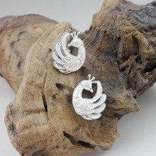 Peacock Small 999 Sterling Silver Stud Earrings For Women Studs Earing Handmade Miao Luxury Jewelry Boho Vintage Ethnic