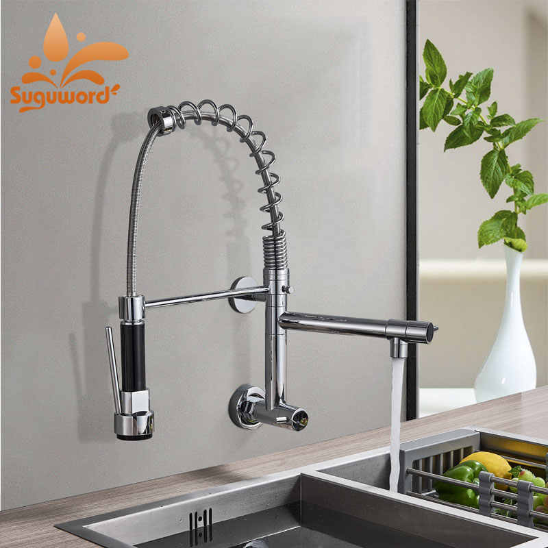 LED or not Wall Mount Spring Kitchen Faucet Single Cold Torneira  Mixer Tap Deck Mounted Chrome Crane pull Dwon and Rotation