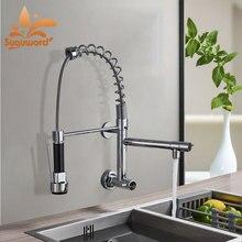 Nova montagem na parede led primavera torneira da cozinha única fria torneira misturadora chrome guindaste puxar para baixo rotação de 360 graus