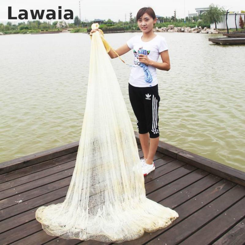 LAWAIA High 4m Fishing Net Fishing Cast Nets Mesh 5cm Monofilament Cast Net Nylon Fishing Network Net Galvanized iron pendant