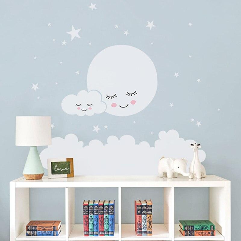 Mond sterne Wand Aufkleber Cloud Kindergarten Wand Aufkleber Für kinder Zimmer Aufkleber Kindergarten Wand Aufkleber mädchen dekorative vinyl babys T180838