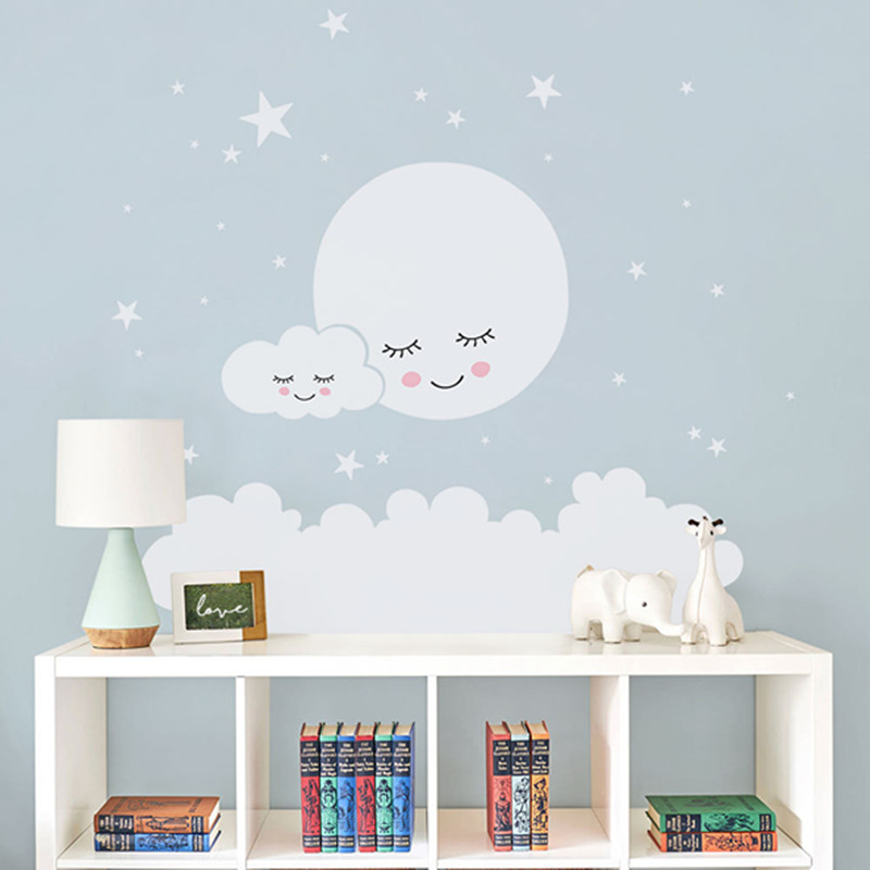Us 8 69 37 Off Moon Stars Wall Decal Cloud Nursery Stickers For Kids Room Sticker S Decorative Vinyl Babies T180838 In