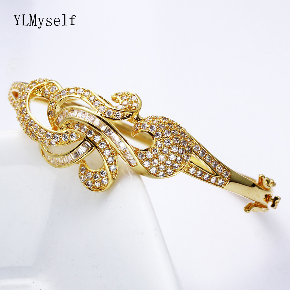 Beautiful elegant CZ bangle jewelry for wedding party Gold and White jewellery shiny crystal charm Bracelet & bangles for women