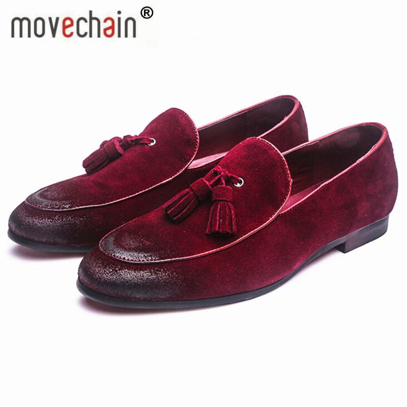 movechain Men's Classic Tassel Soft Moccasins Mens Genuine   Suede     Leather   Casual Loafers Outdoor Driving Flats Shoes Sizes 38-48