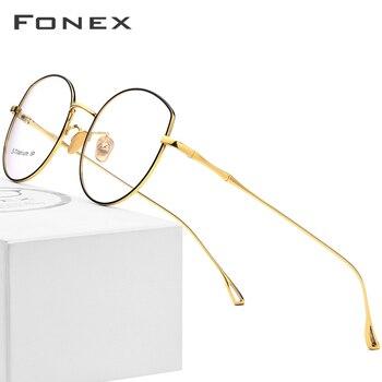 2a01131a51 Puro titanio gafas de Marco de las mujeres 2019 ultraligero anteojos  recetados gato ojo gafas miopía marco óptico de gafas