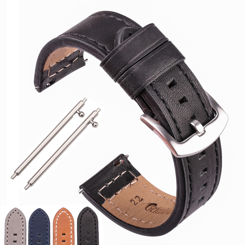 Cowhide Watchband Black Blue Gray Brown Genuine Leather Watch Strap Bnad For Women Men Bracelet For Watches For Samsung Gear S3