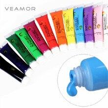 12 UNIDS/LOTE 12 Colores de Acrílico Tips Nail Art Painting Pigmento Tubo de Diseño de Uñas Herramientas de la Manicura de Color Al Azar Envío Libre