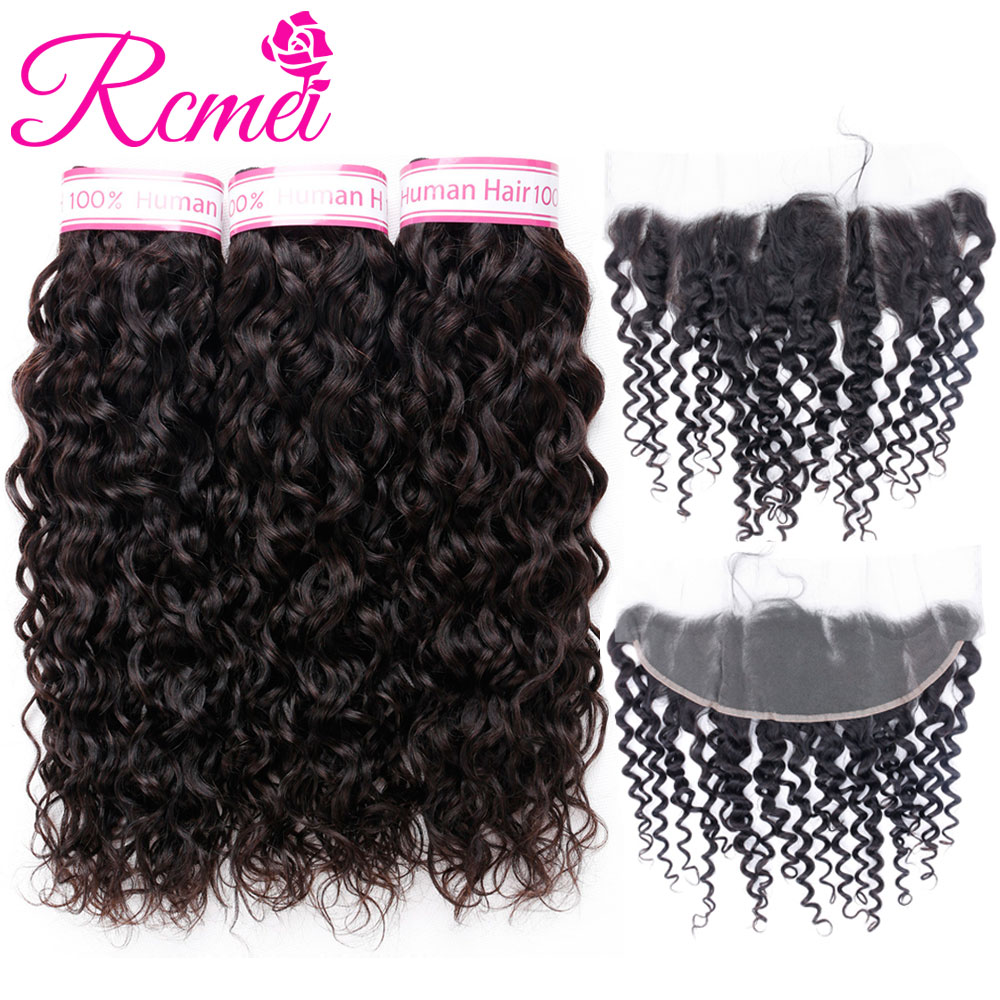 Rcmei Water Wave Human Hair 3 Bundles With Frontal Closure Brazilian Non Remy Hair Pre Plucked Lace Frontal Closure With Bundles