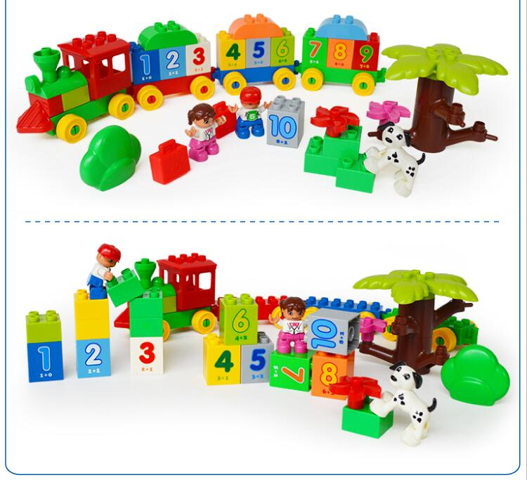 Original HUIMEI Brand Big Blocks Number Train Building Set Compatible with font b Legoed b font