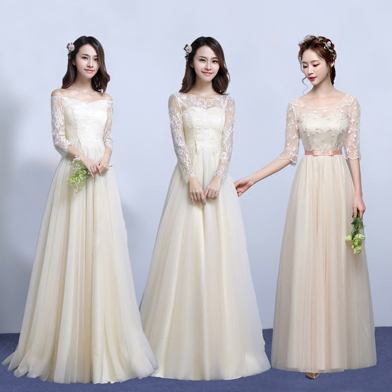 934a41e7214 Clearance Sale Champagne Long Sleeve Bridesmaid Dress SW1878 Half Sleeve Bridesmaid  Dresses