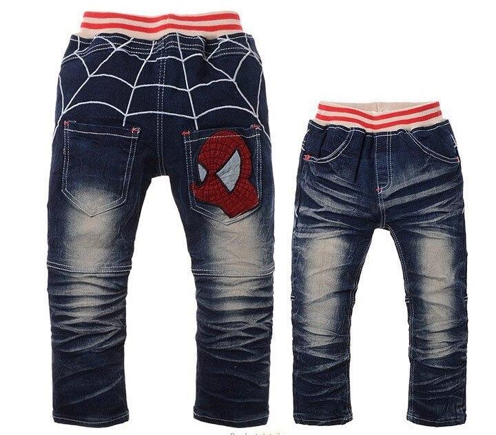 Rapimento Nuovo Stile Di Abbigliamento Per Bambini Cartoon Spider Man Progettazione Pantaloni Jeans Dei Ragazzi Bambini Autunno Pantaloni All'ingrosso E Al Dettaglio Ricco E Magnifico