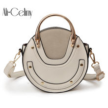 2018 new Original brand design round bag Round metal portable Metal rivets handbag fashion chain shoulder bag Messenger bag(China)
