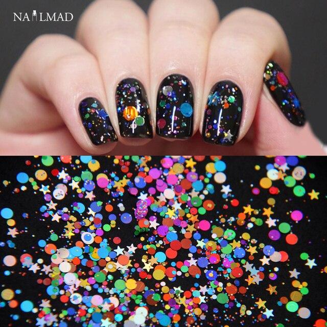 1box Galaxy Nail Art Glitters Mix Round Acrylic Glitter Hexagon Nail ...