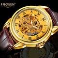 FNGEEN Luxo Ouro Esqueleto Relógio Mecânico Automático Homens Relógio Pulseira De Couro Retro Marca de Topo Vestido de Negócios Relógios