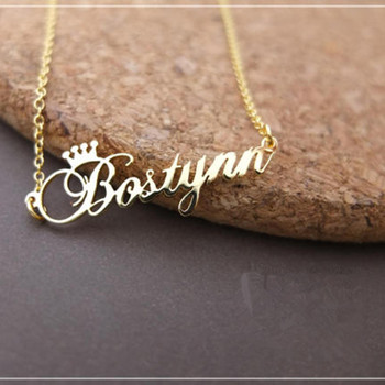 387ad96c9f69 Oro Color personalizado nombre corona collar hecho a mano personalizado  Colgante placa Acero inoxidable cadena joyería cumpleaños regalos