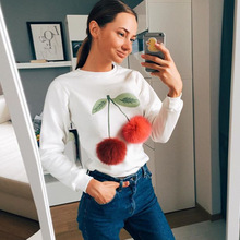 2017 New Long Sleeve Mohair Ball Cherry Printed Womens Sweatshirts Autumn Long Sleeve Clothing Jumper Pullover Tops