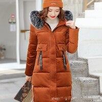women Navy blue/red/caramel Hooded natural fur collar White Duck Down Jacket Gold Velvet Thick Coat Female Slim Long Outwear