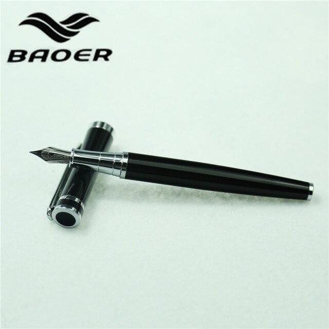 1 шт./лот Baoer авторучка черный ручки серебро клип Baoer 3035 canetas канцелярские школьные принадлежности Материал Эсколар 13.2 см