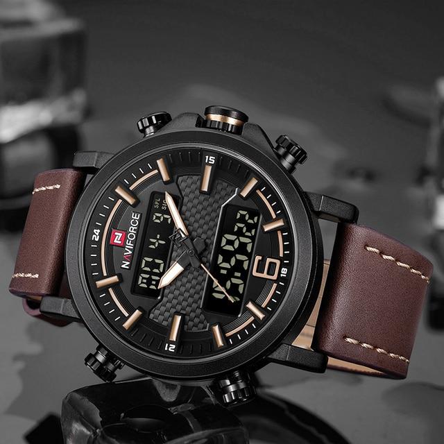 NAVIFORCE Men Sports Watches Fashion Luxury Brand Men's Quartz Digital Leather Waterproof Military Wrist Watch Relogio Masculino