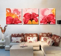 Urijk 3pcs Set Beautiful Flowers DIY Modular Wall Arts Pictures Frameless Oil Painting By Numbers On