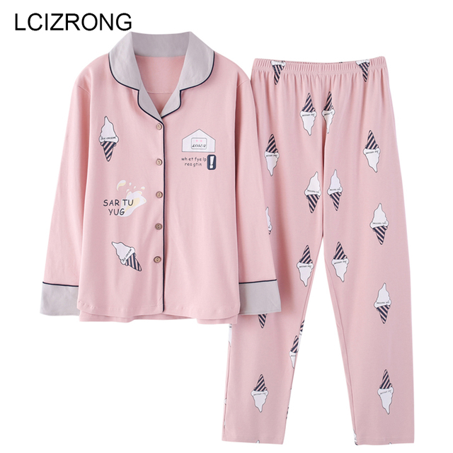 Autumn Cute Cartoon Print Pajamas Sets Women M-3XL Big Size Nightgown Comfortable Ladies Cotton Home High Quality Sleepwear